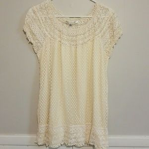 XL Max Studio Ivory Colored Lace Blouse